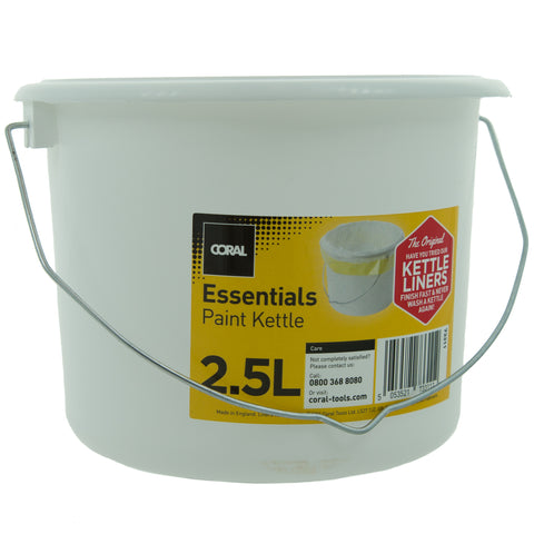 Coral Essentials Plastic Paint Kettle Container with Metal Handle for Paints and Paste 2.5 Litre