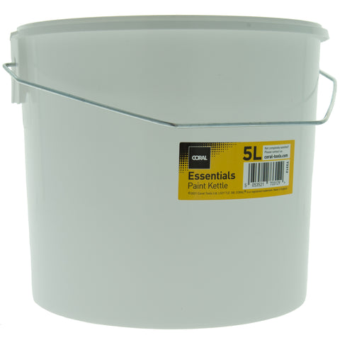 Coral Essentials Plastic Paint Kettle Container with Metal Handle for Paints and Paste 5 Litre