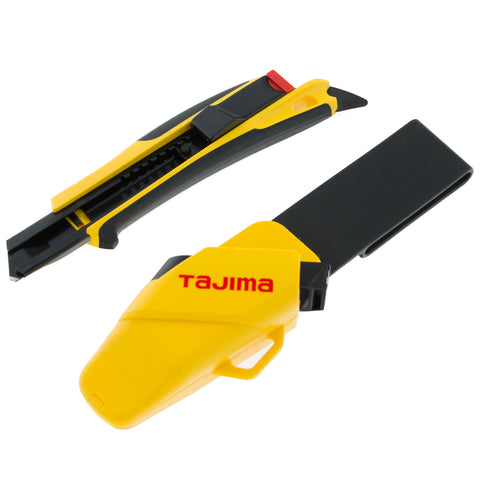 Tajima Quick Back Snap Off Safety Knife with Holster and Razar Black Blade 18MM