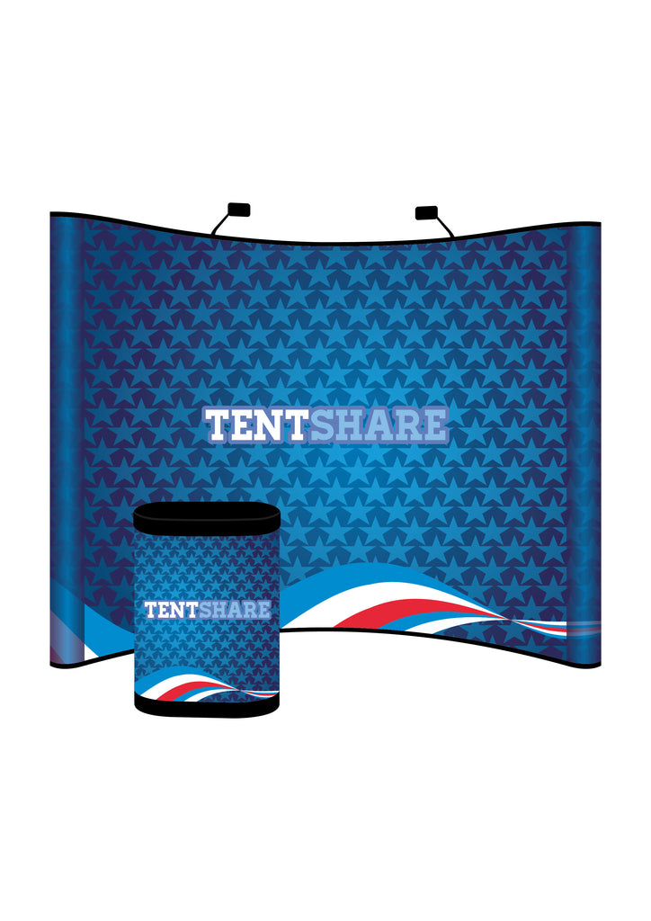 Promotional Pop Up Booth Curve Media Wall 8x10