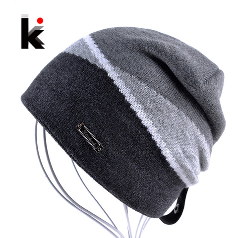 2017 Winter Men's Skullies Gorro Brand Beanie Plus Velvet Hip-hop Hat Knitted Caps Boy Hats Beanies For Men Bonnet Touca Inverno