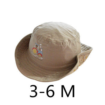 Children Boys Sun Hats Spring Summer Caps Cotton Bucket Hat Baby Kids Boy Cool Tractor Cap New Fashion Free Drop Shipping 6M-6Y