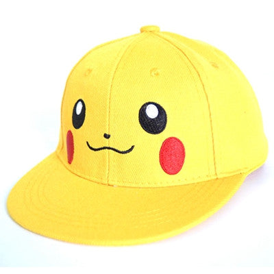2017 New Cute Picachu kids Flat baseball caps Parent-Child Hip-hop Cap boys girls Snapback hats children pokemon hat ZXM-JY-048