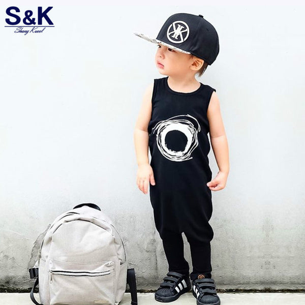 2017 Toddler Children Sleeveless Overalls Baby Rompers Cotton Newborn Boys Clothes For Girls Sunglasses Summer Rompers XH-189