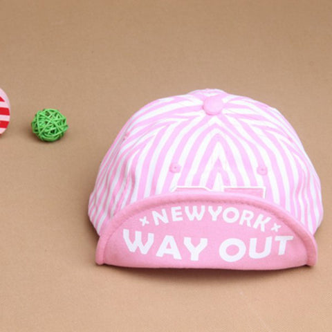 New Hot Baby Girls Boys Hats Stripes Baseball Hat Flat Visor Snap back Cap