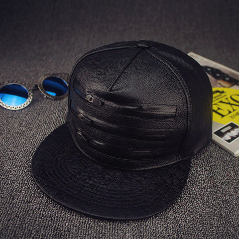 5 panel PU leather snap back cap  zips on front  hip hop hats for girls and boys
