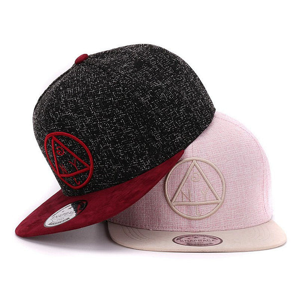 Quality Snapback cap NY round triangle embroidery brand flat brim baseball cap youth hip hop cap and  hat for boys and girls