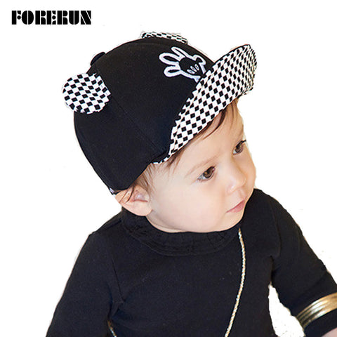 2016 New Baby Hat with Ears Beard Hello Animal Cartoon Kids Baseball Hat Palm Baby Boy Beanies Summer Cotton Caps Girls Visors