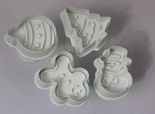 4Pcs Christmas Cookie Plunger Cutter - JoyGlobal.in