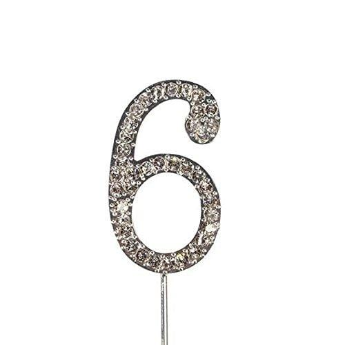 JoyGlobal Rhinestone Number 6 Cake Topper (Silver Color) - JoyGlobal.in