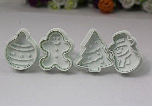 JoyGlobal Christmas Cookie Plunger Cutter (4 pieces) - JoyGlobal.in