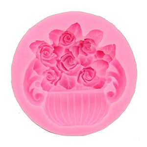 Silicone Rose Pot Flower Fondant Clay Marzipan Jelly Molds Cake Tools (Output Weight : Approx 50 Grams)