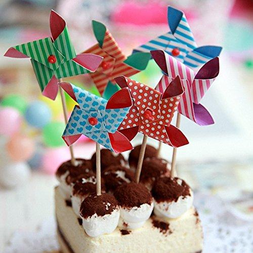 JoyGlobal Pinwheel Windmill Cake Toppers (Pack of 11) - JoyGlobal.in