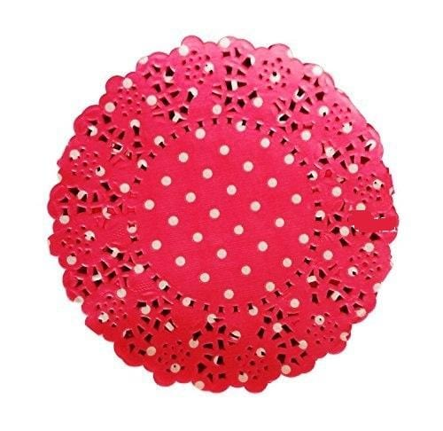 "Flower Round Shape Polka Dot Doilies Lace Paper Size: 10.5"" Inch Color: Red & White (Pack of 50 Pcs)"