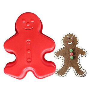 "2 Pcs Set Gingerbread Man Silicone Cake Mold Pan (5"" x 4"" x 1.5"" deep) Random color - JoyGlobal.in"