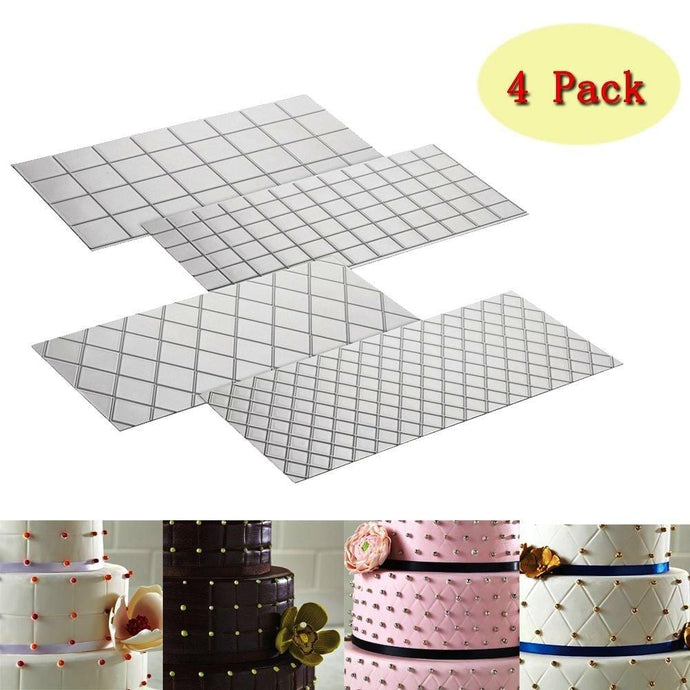 4-Piece Fondant Imprint Mat Set, Clear Mould, Square & Quilted Grid Texture Embossed Design- Plastic Cake Decorating Supplie - JoyGlobal.in