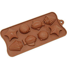 Load image into Gallery viewer, Silicone 8-Cavity Fish & Shell Chocolate/Ice Mould, 90 ml, 1-Piece, Brown