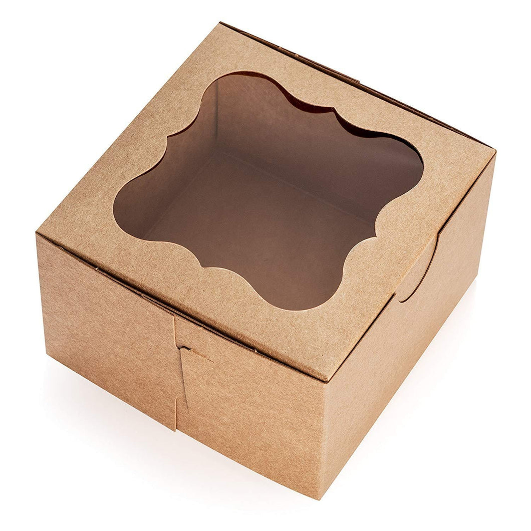 "Brown Cake Boxes with Window, 10 PCS – 9"" x 5"" Inch Cake Boxes, Party Favor Boxes, Candy Boxes, Dessert ."
