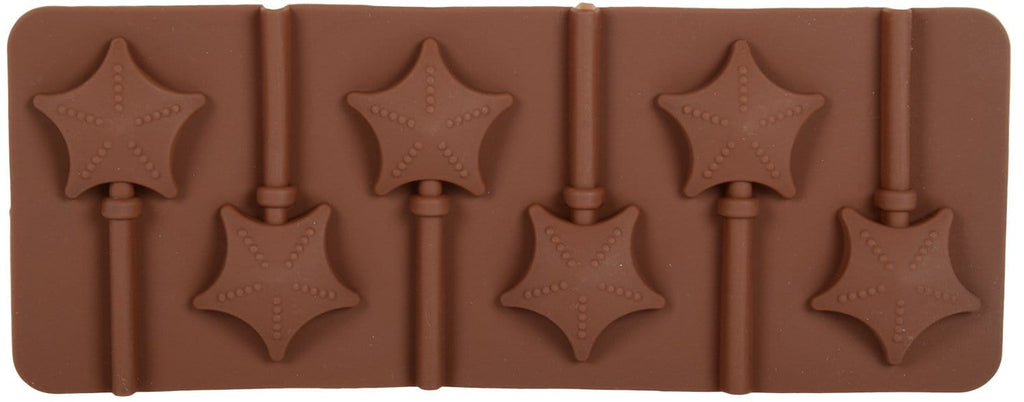 Silicone Brown 6 Cavity Star Shaped Lollipop Chocolate Mould with 6 Lollipop Sticks - JoyGlobal.in
