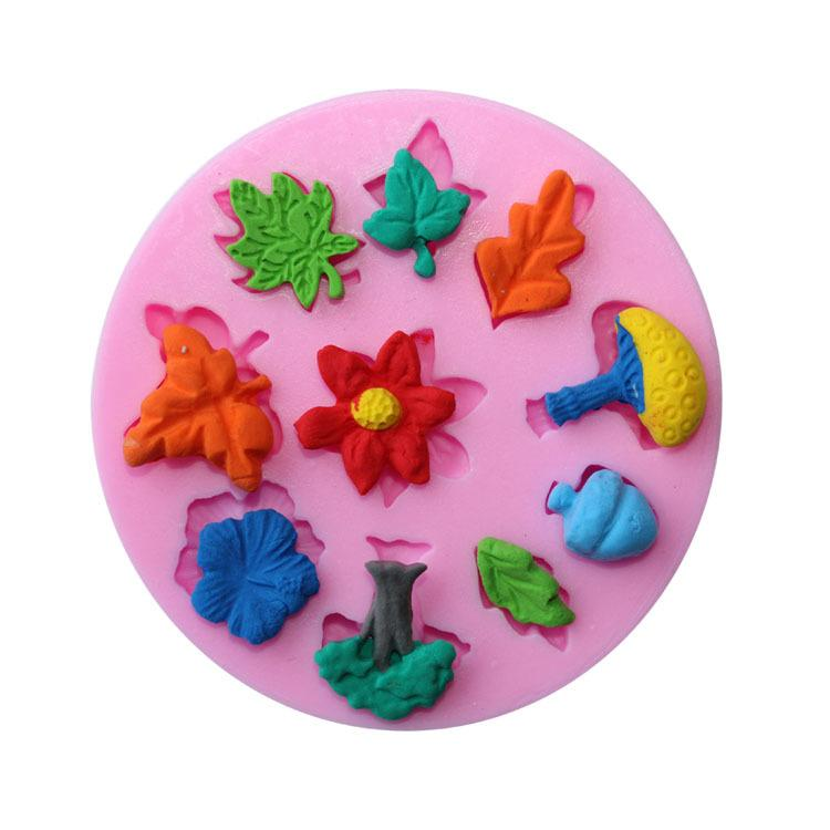 JoyGlobal Flowers leaves Mushrooms Fondant Mould - JoyGlobal.in
