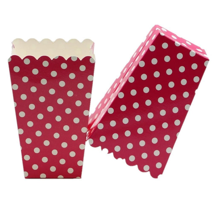Red Polka Popcorn Cups Set Of 6 Pcs