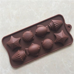 Silicone 8-Cavity Fish & Shell Chocolate/Ice Mould, 90 ml, 1-Piece, Brown