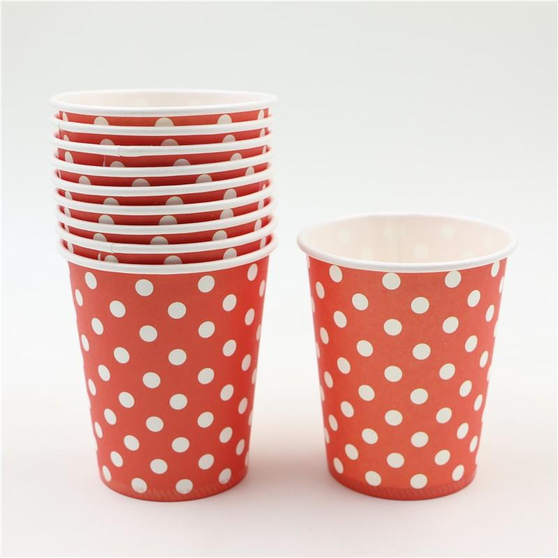JoyGlobal Red Polka Dot Disposable Glass 10 Pieces - JoyGlobal.in