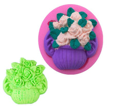Load image into Gallery viewer, Silicone Rose Pot Flower Fondant Clay Marzipan Jelly Molds Cake Tools (Output Weight : Approx 50 Grams)