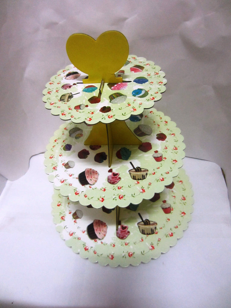 3 Tier Green Colour Muffin Pattern Birthday Celebrations Cupcake Stand - Collapsible and Easy to Assemble - Accommodates Several Types of Desserts - Perfect for Catering and Birthday Parties - JoyGlobal.in