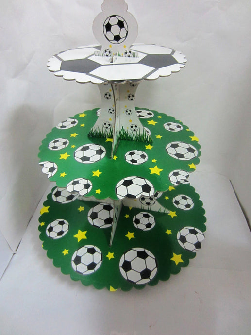 3-Tier Football And Grass Shape Birthday Cupcake Stand - Collapsible and Easy to Assemble - Accommodates Several Types of Desserts - Perfect for Catering and Birthday Parties (Princess) - JoyGlobal.in
