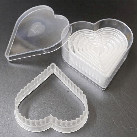 (7 pcs / set) Fluted Edge Polycarbonate Heart Design Cookie Cutter Cake Fondant Cupcake Liner Cutter for DIY Home Pastry Accessories - JoyGlobal.in