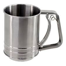 Regular Size Stainless Steel Spring Action Flour Sifter Size: 5.5 x 6.5 x 4 Inches - JoyGlobal.in