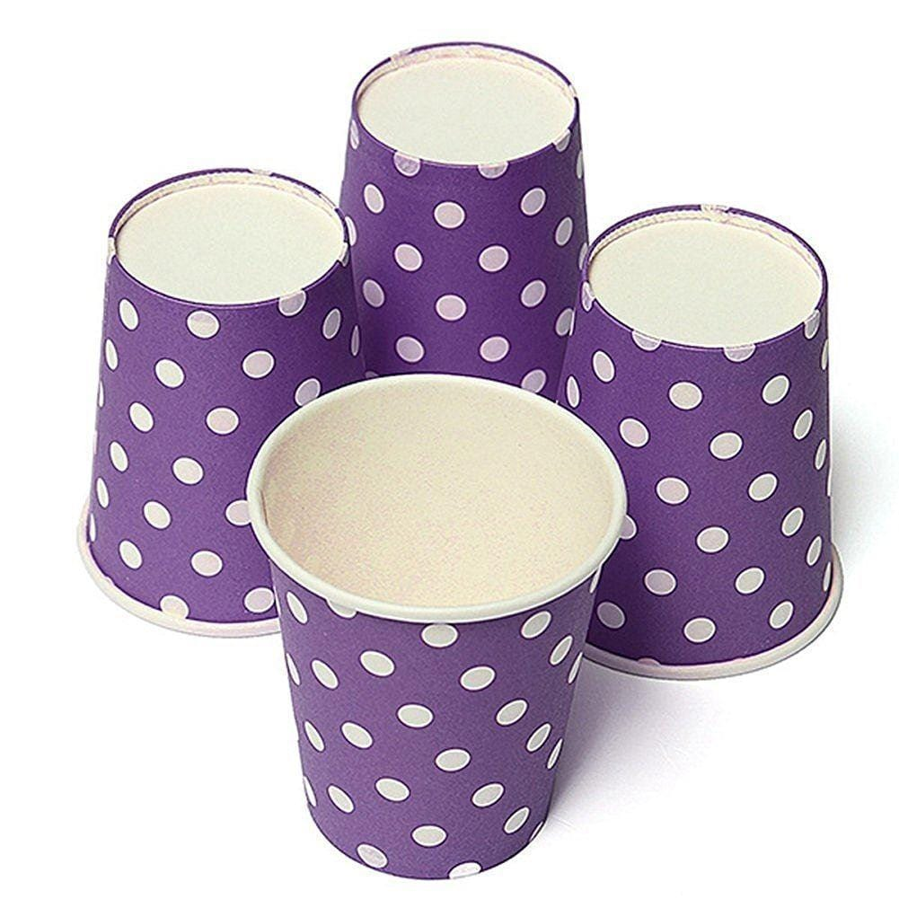 JoyGlobal Purple Polka Dot Disposable Glass 10 Pieces - JoyGlobal.in