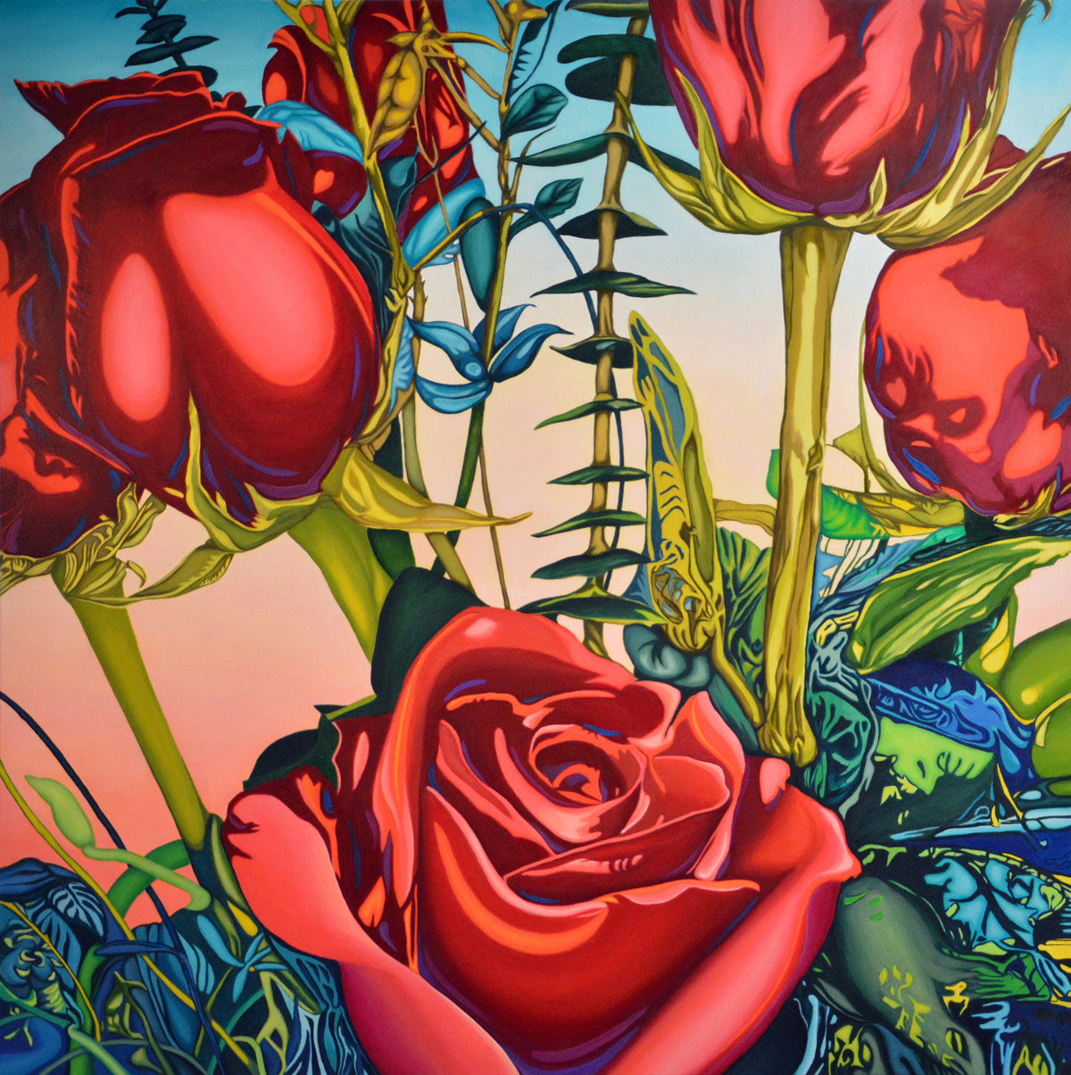 Roses original oil painting by Anne Gudrun