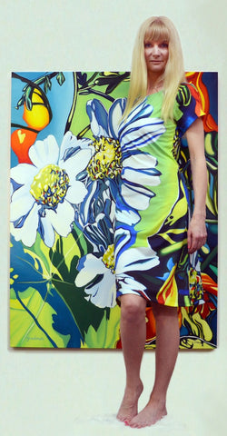 Daisy Dress created from the original painting Daisies by Anne Gudrun