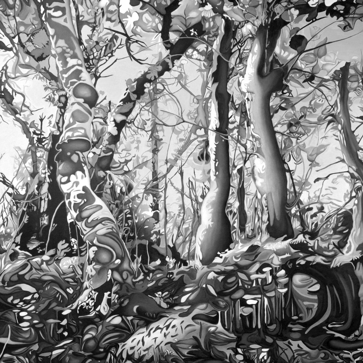 Forest in black and white, created from the original oil painting Midsummer Forest by Anne Gudrun