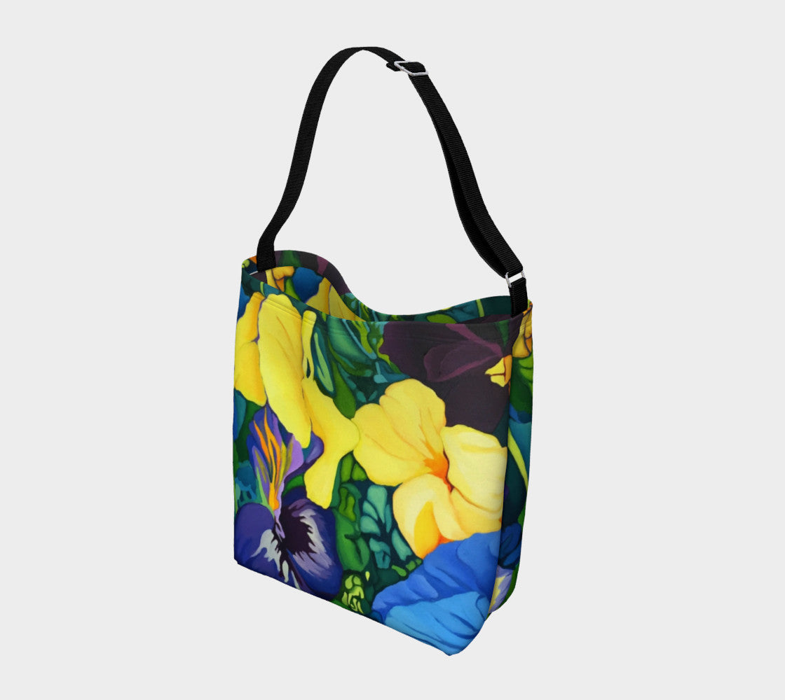 Blue and Yellow Pansy Tote