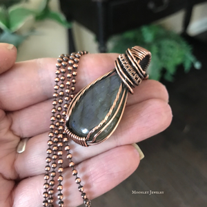 Purple Labradorite Wire Wrapped Pendant Necklace in Copper