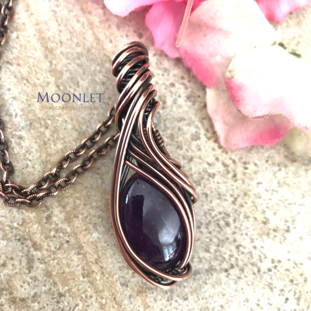 by MOONLET HANDCRAFTED JEWELRY Amethyst Oval Curves Antique Copper Pendant Necklace Wire Wrap Jewelry