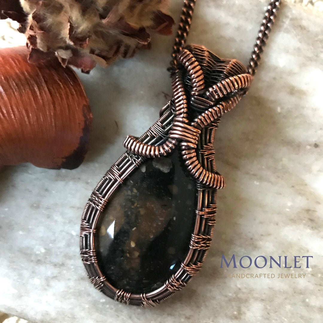 by MOONLET HANDCRAFTED JEWELRY Earthy Black Jasper Antique Copper Pendant Necklace Wire Wrap Jewelry
