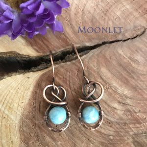 by MOONLET HANDCRAFTED JEWELRY Blue Aventurine Antique Copper Earrings Wire Jewelry