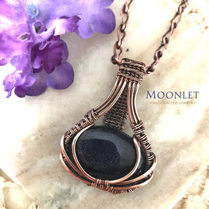 by MOONLET HANDCRAFTED JEWELRY Blue Goldstone Antique Copper Pendant Necklace Wire Wrap Jewelry