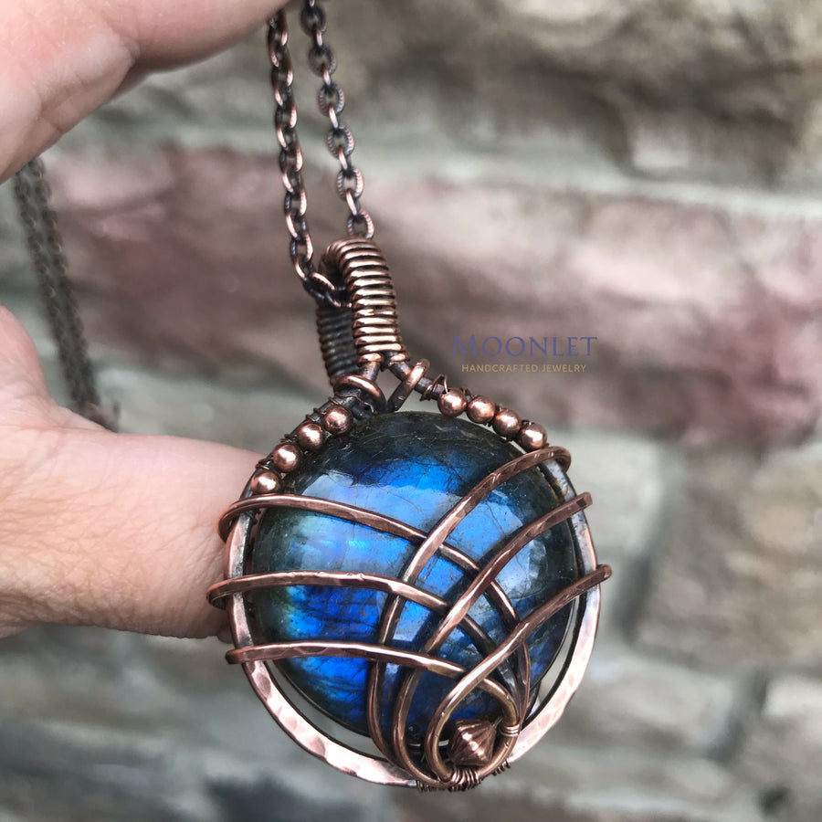 by MOONLET HANDCRAFTED JEWELRY BLUE Labradorite Antique Copper Pendant Necklace Wire Wrap Jewelry