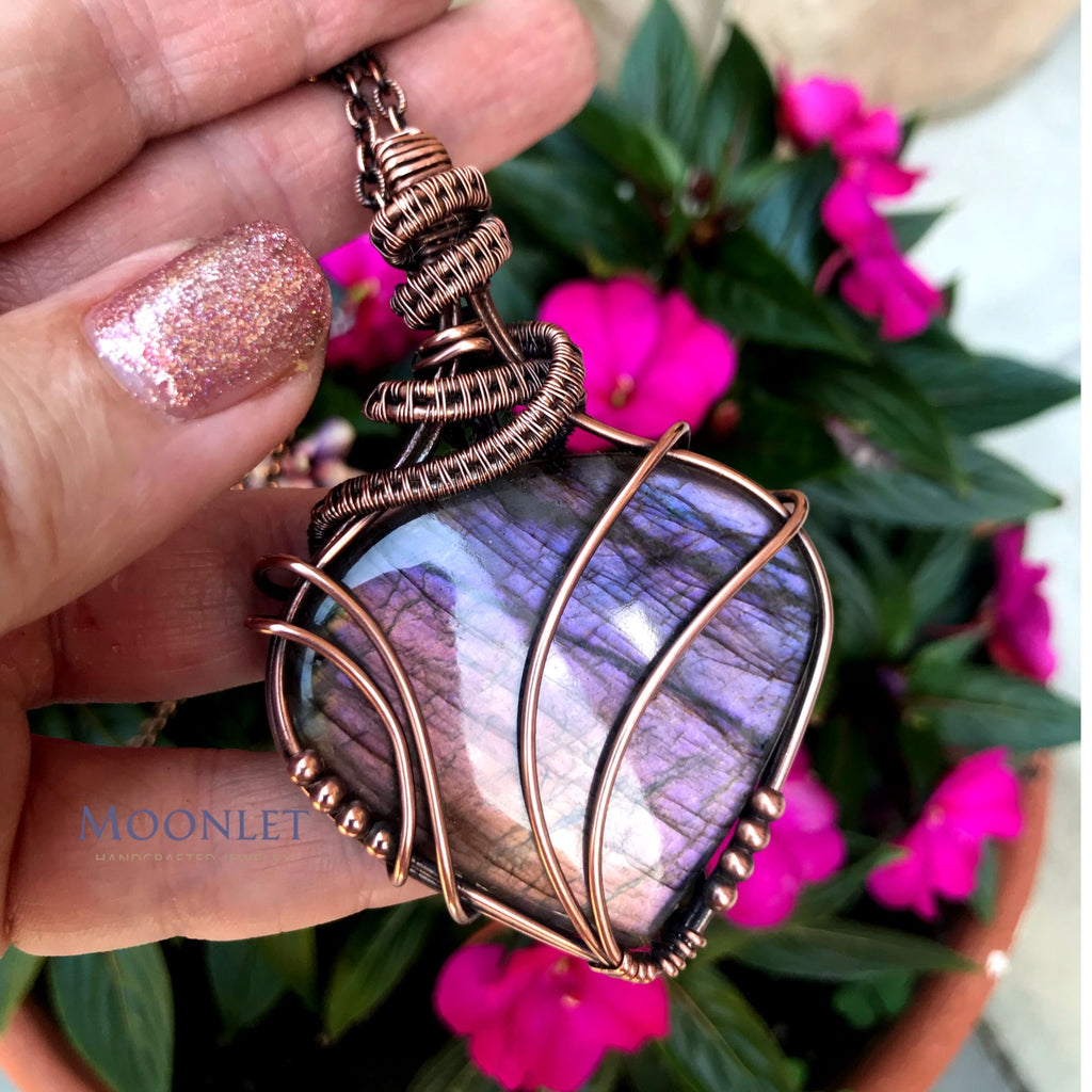 by MOONLET HANDCRAFTED JEWELRY Purple Rainbow Labradorite Antique Copper Pendant Necklace Wire Wrap Jewelry