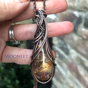 by MOONLET HANDCRAFTED JEWELRY Garden Quartz Lodolite Teardrop Curves Antique Copper Pendant Necklace Wire Wrap Jewelry