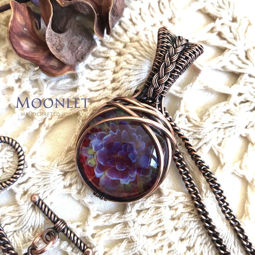 by MOONLET HANDCRAFTED JEWELRY Glass Floral Mums Antique Copper Pendant Necklace Wire Wrap Jewelry