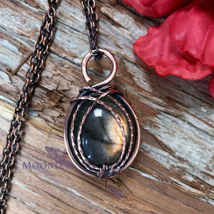 by MOONLET HANDCRAFTED JEWELRY Golden Labradorite Antique Copper Pendant Necklace Wire Wrap Jewelry