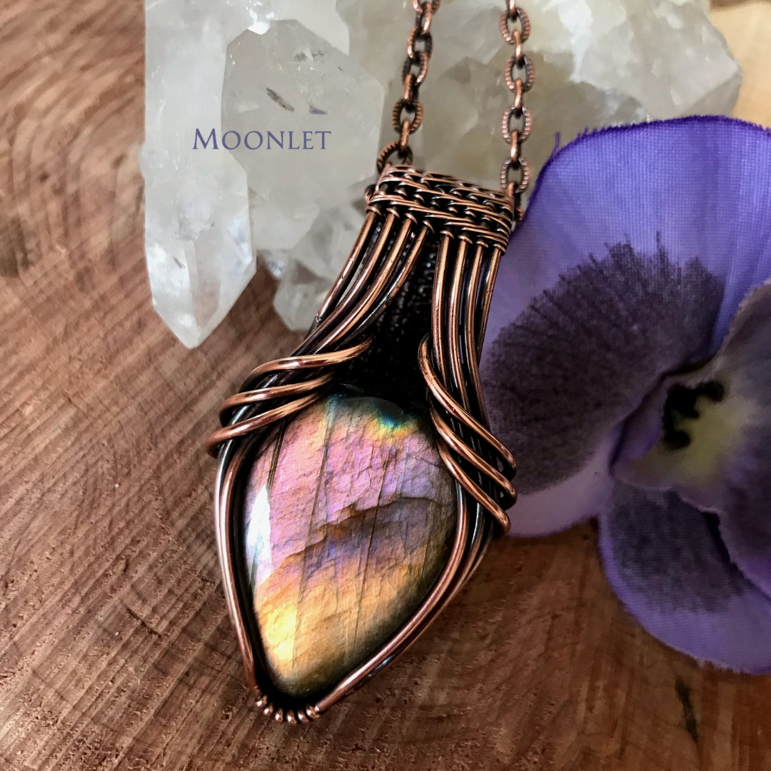 by MOONLET HANDCRAFTED JEWELRY Golden Rainbow Labradorite Wings Antique Copper Pendant Necklace Wire Wrap Jewelry