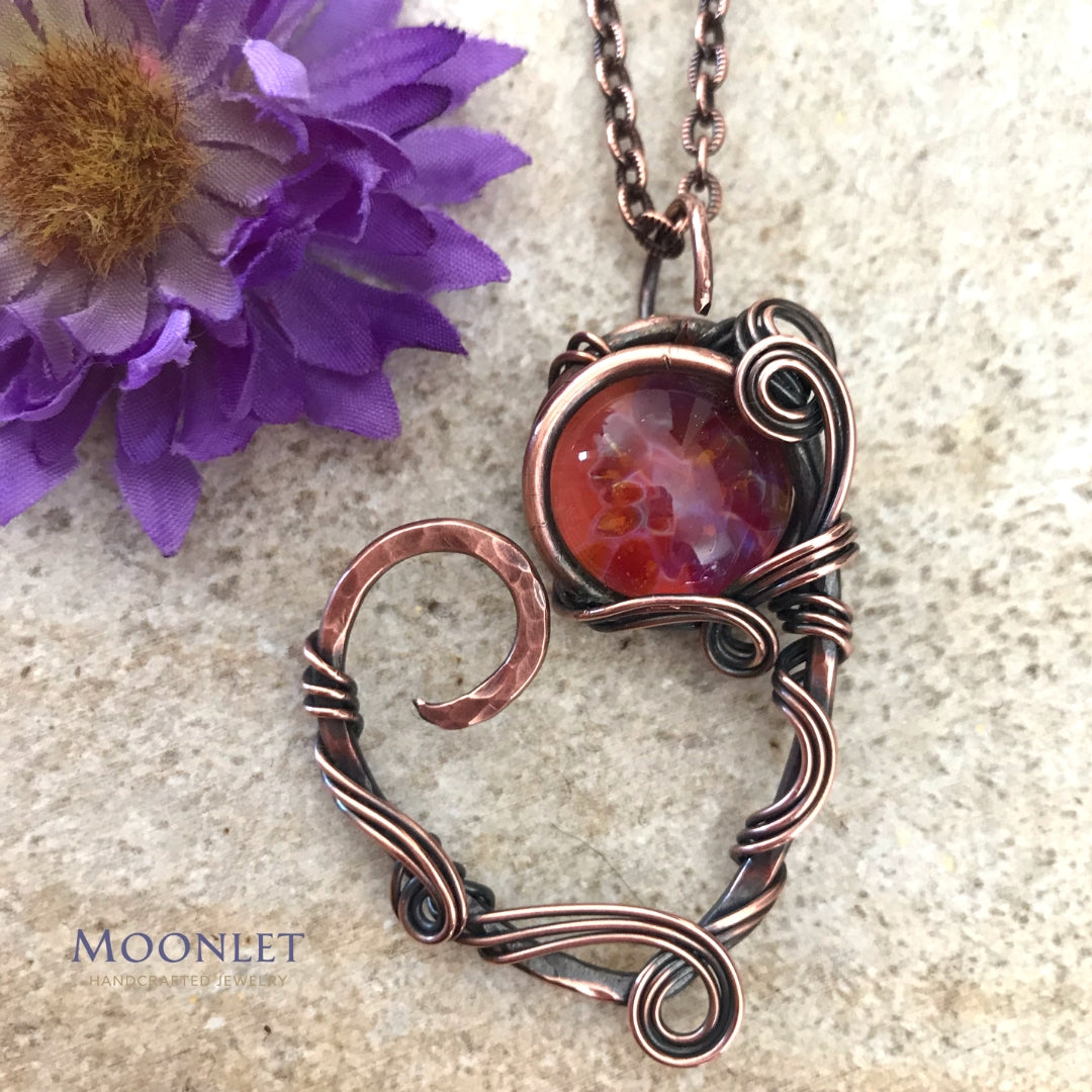 by MOONLET HANDCRAFTED JEWELRY Heart Glass Antique Copper Pendant Necklace Wire Wrap Jewelry