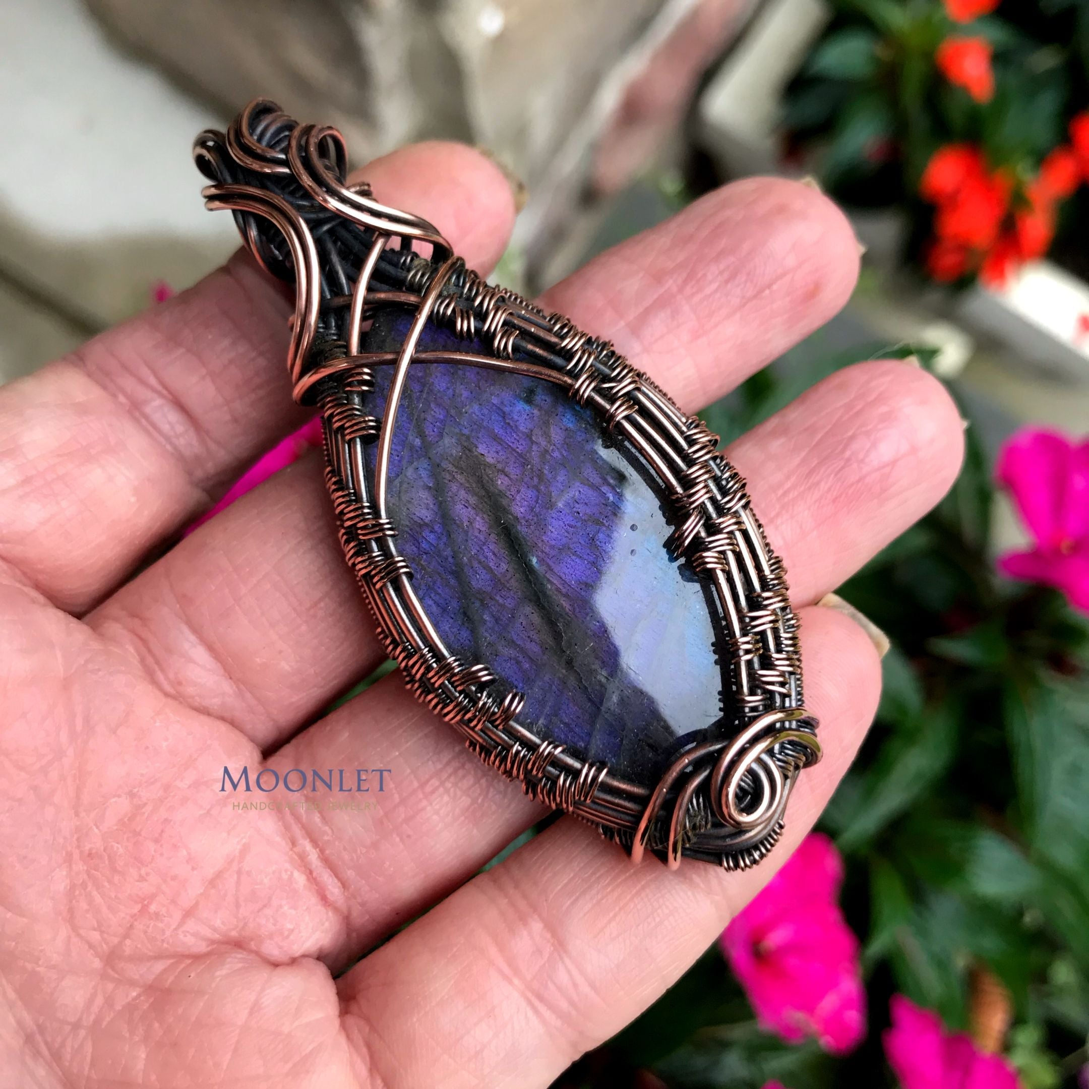 """Michaela"" Purple Labradorite in Copper"